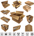 shipping boxes and icons vector image