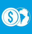 world planet and dollar coin icon white vector image