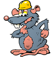 Hand-drawn of an wondering Rat with helmet vector image