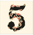 Fiery font number 5 on white vector image