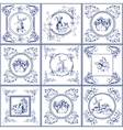 Famous delft blue tiles icons collection vector image