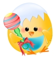 Chick baby with rattle vector image vector image