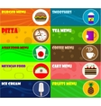 Fast food icons on color background vector image