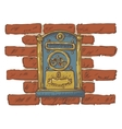Mail Delivery Blue Retro Mailbox on a Red Brick vector image