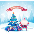 merry christmas greeting card santa with decorated vector image