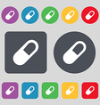 pill icon sign A set of 12 colored buttons Flat vector image