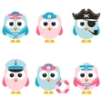 set of sailor owls isolated on white vector image