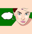 young beautiful woman thinking of smth with vector image