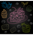Set of color chalk drawn on a blackboard food vector image