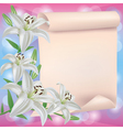 Greeting or invitation card with lily flower and vector image vector image