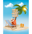 Beach with a palm tree a direction sign and a vector image
