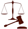 hammer of justice scale of justice1 1 v vector image vector image