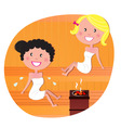 cute woman friends in sauna vector image vector image