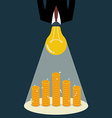 Businessman with a light bulb head glow to the vector image