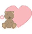 teddy bear and big heart vector image vector image