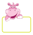 baby hippo cartoon label vector image