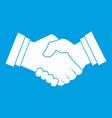 business handshake icon white vector image