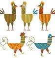 Funny hens set vector image