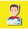 man ticket travel icon vector image