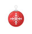red christmas bulb with a snowflake in the middle vector image