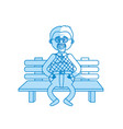 silhouette old man in the chair with hairstyle vector image
