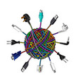 Tangled cables in clew on white background vector image