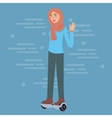 young girl wearing hijab play hoverboard standing vector image