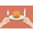 Knife and fork cutlery in hands with burger vector image