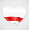 White paper heart with red ribbon vector image vector image