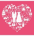 Wedding elements in the shape of a heart vector image