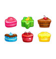 cartoon colorful sweet cakes set vector image