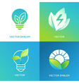 Eco energy concept - light bulb icons with green vector image