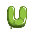 green letter u in form of bright glossy balloon vector image