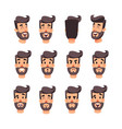 man s head with different emotions cartoon vector image