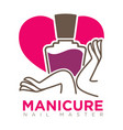 manicure logotype with female hands holding nail vector image