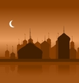 Ramadan Background with Silhouette Mosque vector image
