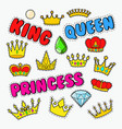 royal doodle with set of golden crowns and gems vector image