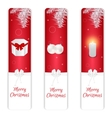 Set of three vertical Christmas banner red and vector image