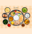 traditional gujarati cuisine and food meal thali vector image