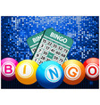 Bingo balls and cards on blue mosaic background vector image vector image