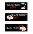 Beach Items on Three Black Friday Sale Banners vector image vector image