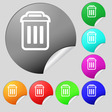 trash icon sign Set of eight multi colored round vector image