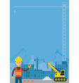Worker and Construction Background Frame vector image