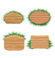 Clean wood banners with grass vector image