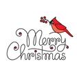 Merry christmas hand lettering with red robin bird vector image vector image