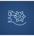 Coal machine with rotating cutting drum line icon vector image