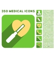 Heart Tuning Icon and Medical Longshadow Icon Set vector image
