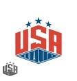 Quality USA logo colored flag of America print