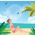 girl woman pose at beach sand sun tanning wearing vector image