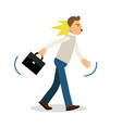 an angry man walking with a briefcase upset vector image